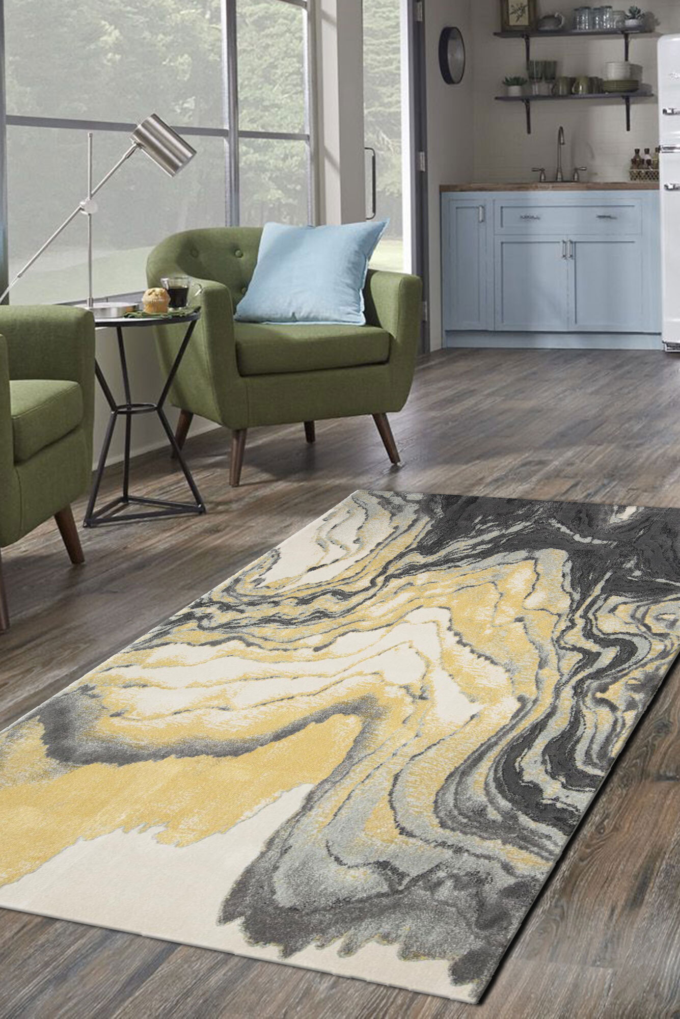 Roma Yellow Modern Abstract Rug(Size 170 x 120cm)