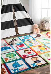 Kids ABC White Rug