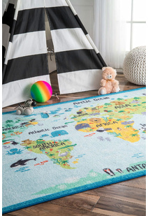 Kids World Map Rug
