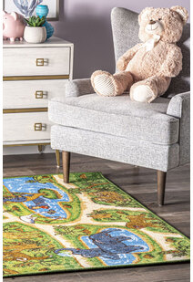 Kids Zoo Road Rug